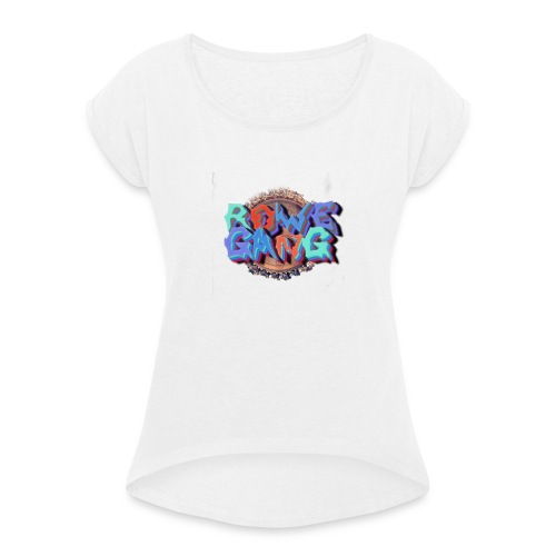 RoweGang Basic Logo - Naisten T-paita, jossa rullatut hihat