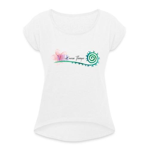 Nähen ist meine Therapie - Frauen T-Shirt mit gerollten Ärmeln