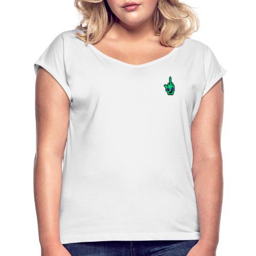 kleines Logo - Frauen T-Shirt mit gerollten Ärmeln