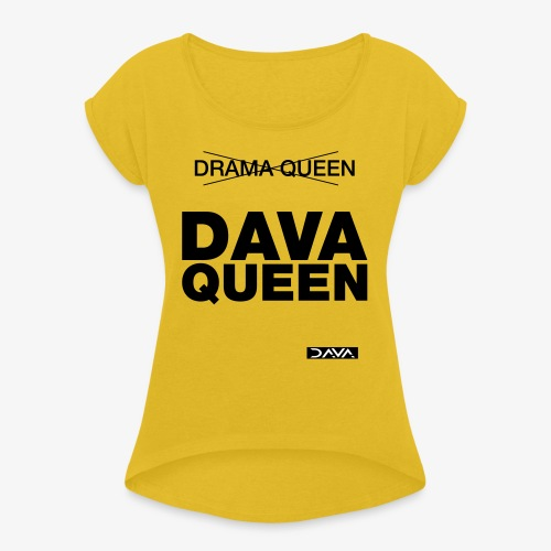 DAVA Queen - black - Women's T-Shirt with rolled up sleeves