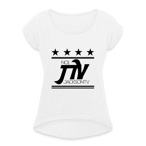 Motiv2 png - Frauen T-Shirt mit gerollten Ärmeln