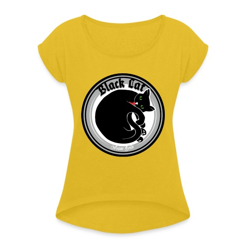Black Cat - Frauen T-Shirt mit gerollten Ärmeln