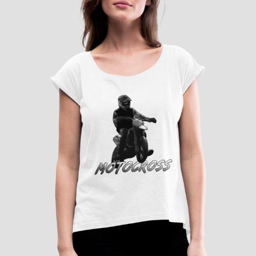 Motocross animation - T-shirt med upprullade ärmar dam