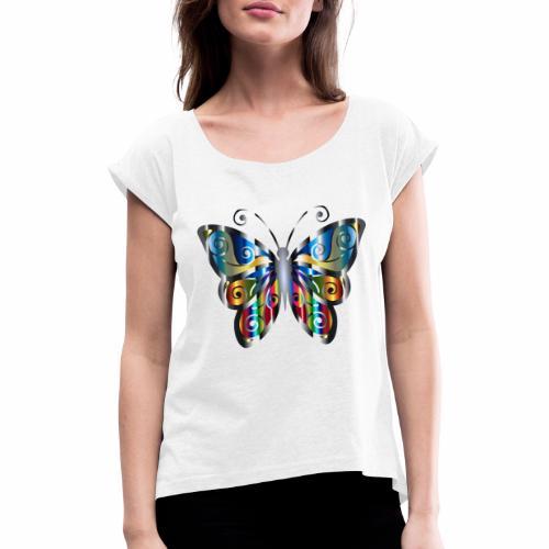 butterfly - Koszulka damska z lekko podwiniętymi rękawami