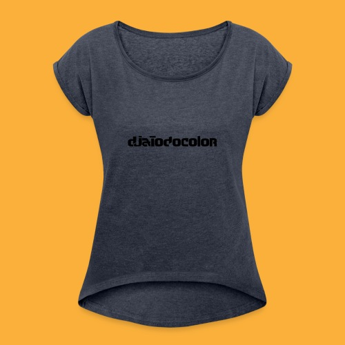 DJATODOCOLOR LOGO NEGRO - Camiseta con manga enrollada mujer