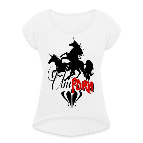 Uniporn - Frauen T-Shirt mit gerollten Ärmeln