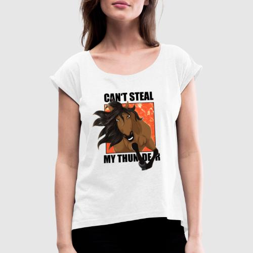 PERCY Design 2 für HELLE Stoffe - Frauen T-Shirt mit gerollten Ärmeln