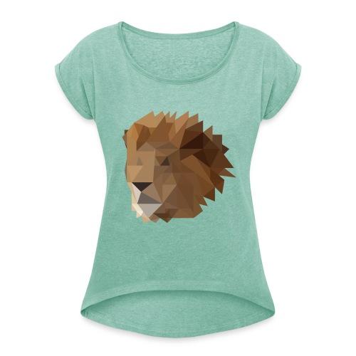 Löwe - Frauen T-Shirt mit gerollten Ärmeln