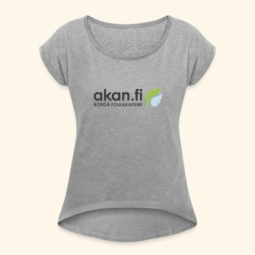 Akan Black - Naisten T-paita, jossa rullatut hihat