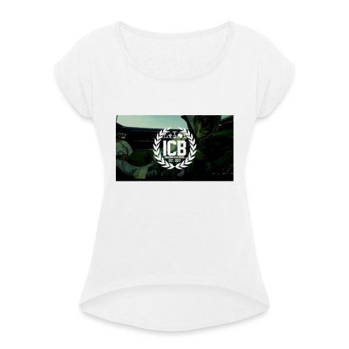 ICB Logo mit Hintergrund - Frauen T-Shirt mit gerollten Ärmeln