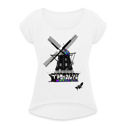 Windmill by BlackenedMoonArts, with logo - Dame T-shirt med rulleærmer