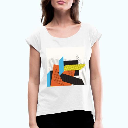Vintage shapes abstract - Women's T-Shirt with rolled up sleeves
