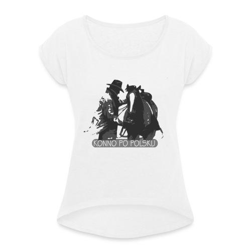 horse2 - Koszulka damska z lekko podwiniętymi rękawami