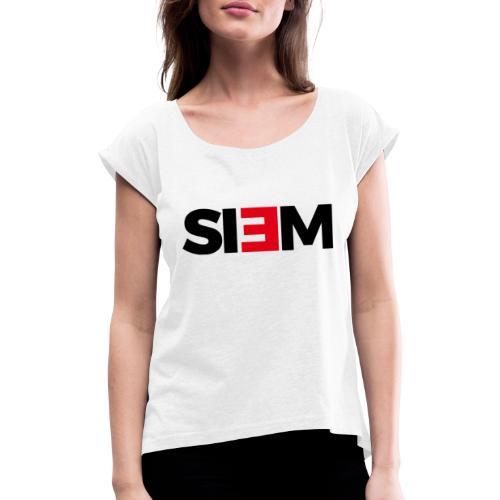 siem_zwart - Vrouwen T-shirt met opgerolde mouwen