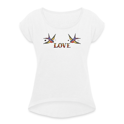 A Pair Of Swallows In Love - Women's T-Shirt with rolled up sleeves