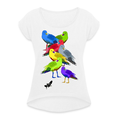 Seagulls by BlackenedMoonArts, with logo - Dame T-shirt med rulleærmer