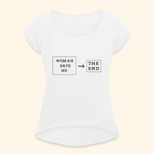 Me too - T-shirt med upprullade ärmar dam