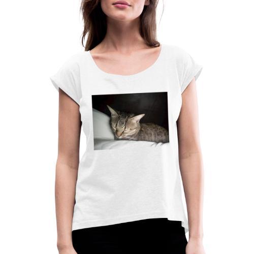 Katzen Liebhaber Und Leidenschaft - Frauen T-Shirt mit gerollten Ärmeln