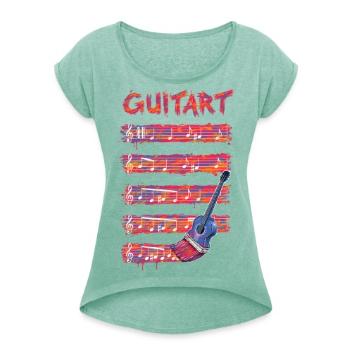 GuitArt - Women's T-Shirt with rolled up sleeves
