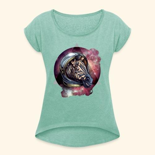 Space Zebra - Frauen T-Shirt mit gerollten Ärmeln