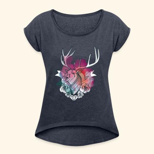 Moderner Hirsch - Frauen T-Shirt mit gerollten Ärmeln