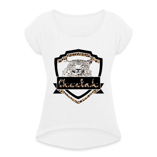 Cheetah Shield - Women's T-Shirt with rolled up sleeves
