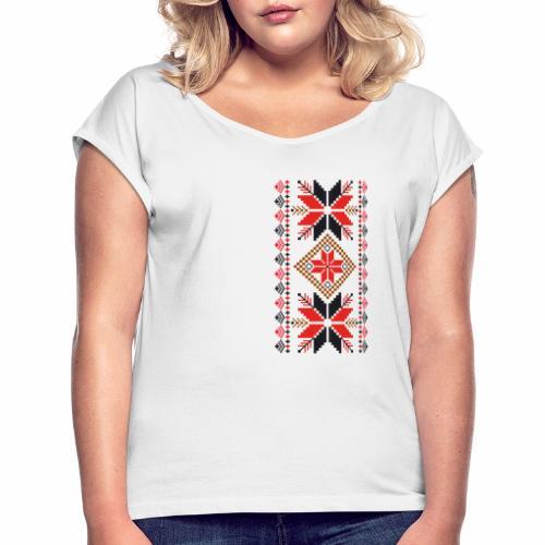 Ornament ludowy - Koszulka damska z lekko podwiniętymi rękawami