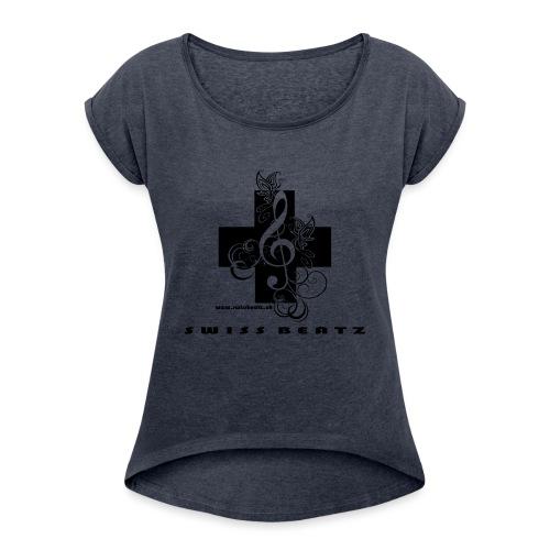 Swiss Beatz Logo with L - Frauen T-Shirt mit gerollten Ärmeln