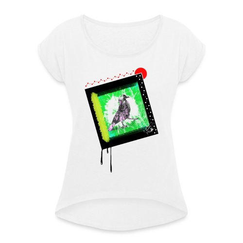 One Cool Bird by BlackenedMoonArts, w. logo - Dame T-shirt med rulleærmer