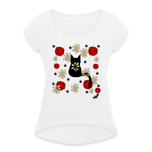 Cat with Flowers by BlackenedMoonArts, w. logo - Dame T-shirt med rulleærmer