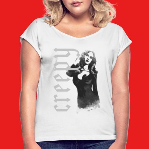 Fashion sexy creepy Pin Up Girl 2reborn - Frauen T-Shirt mit gerollten Ärmeln