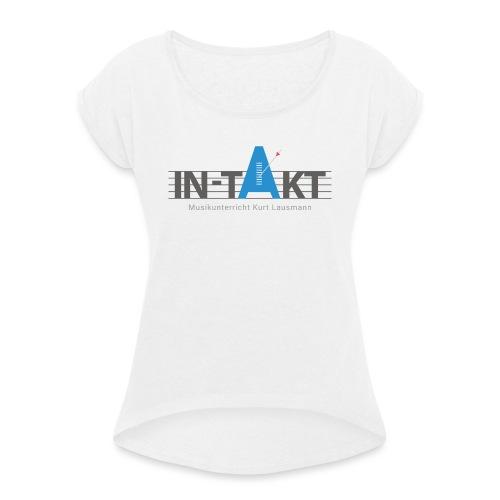 IN-TAKT Musikunterricht Logo Lovers - Frauen T-Shirt mit gerollten Ärmeln