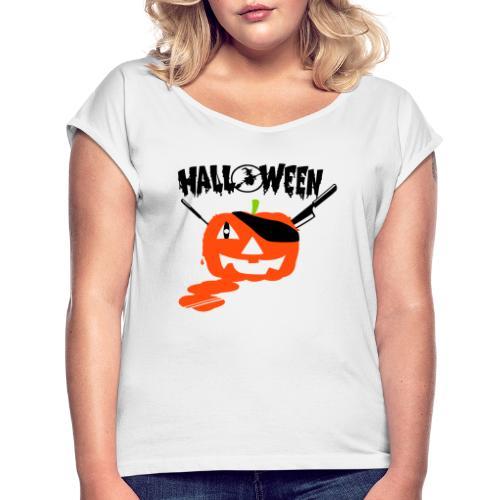 motif Citrouille - T-shirt à manches retroussées Femme