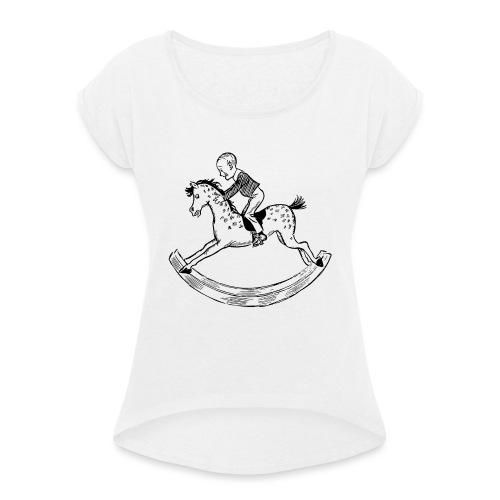 konik na biegunach - Koszulka damska z lekko podwiniętymi rękawami