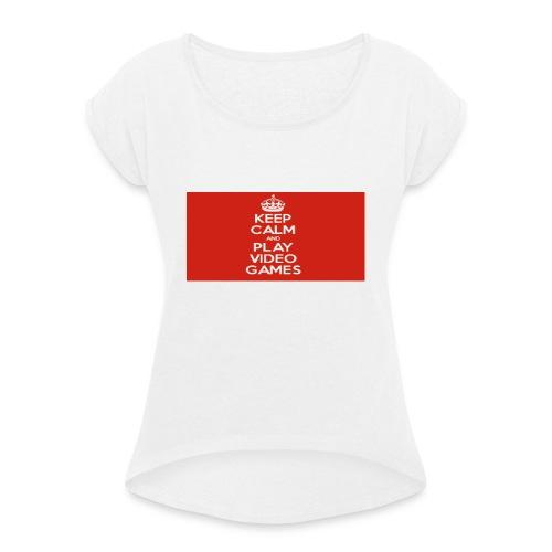 play does games - T-skjorte med rulleermer for kvinner