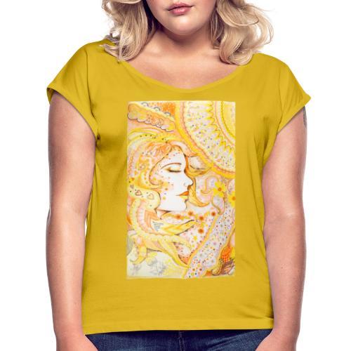 Fröken Sol - T-shirt med upprullade ärmar dam