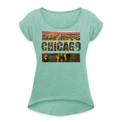 Chicago - Frauen T-Shirt mit gerollten Ärmeln