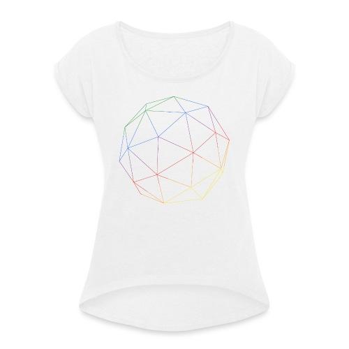 RAINBOW CUBE - Frauen T-Shirt mit gerollten Ärmeln