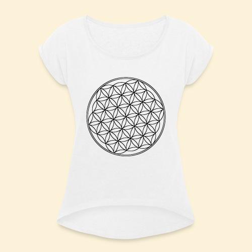 Lebensblume 01 b - Frauen T-Shirt mit gerollten Ärmeln