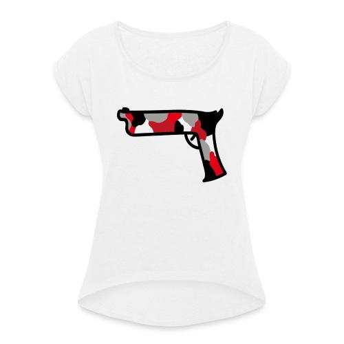 strijdR T-shirt pistol black - Vrouwen T-shirt met opgerolde mouwen