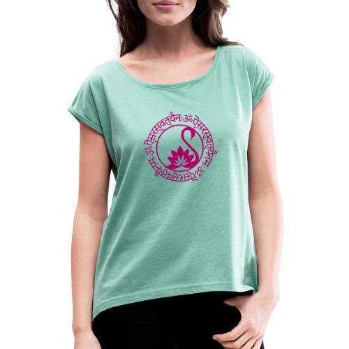 Sarasvati Göttin der Kreativität und Weisheit - Frauen T-Shirt mit gerollten Ärmeln