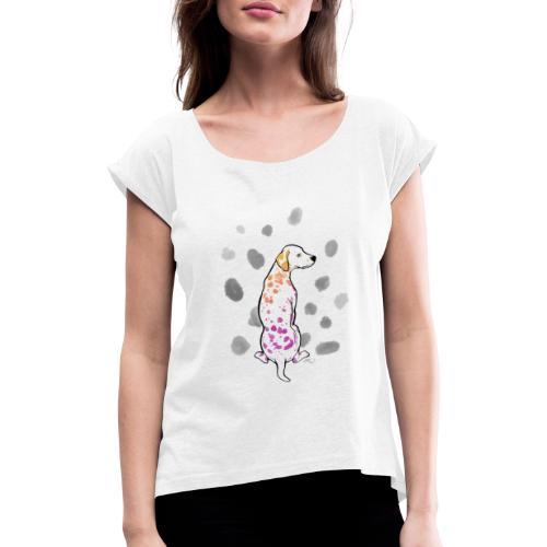 Dalmatiner bunt 02 - Frauen T-Shirt mit gerollten Ärmeln