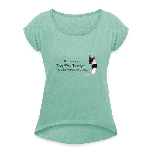 016 - Naisten T-paita, jossa rullatut hihat