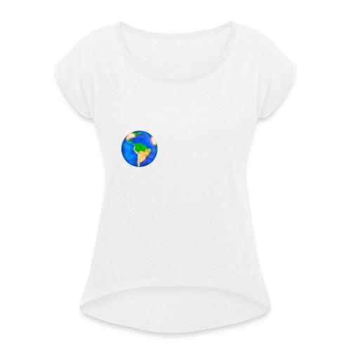 Erde trifft auf Weiß - Frauen T-Shirt mit gerollten Ärmeln