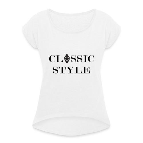 Ethereum Classic Style - Frauen T-Shirt mit gerollten Ärmeln