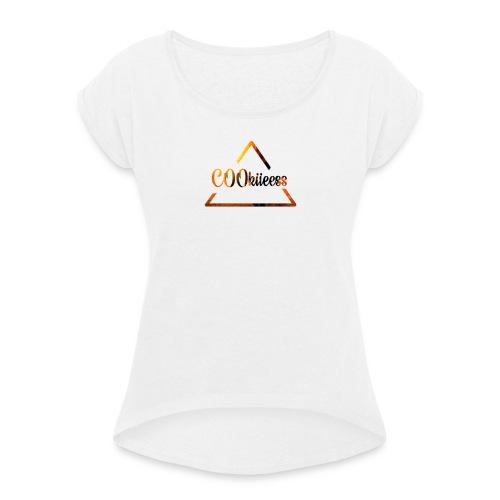 C00kiieess - Naisten T-paita, jossa rullatut hihat