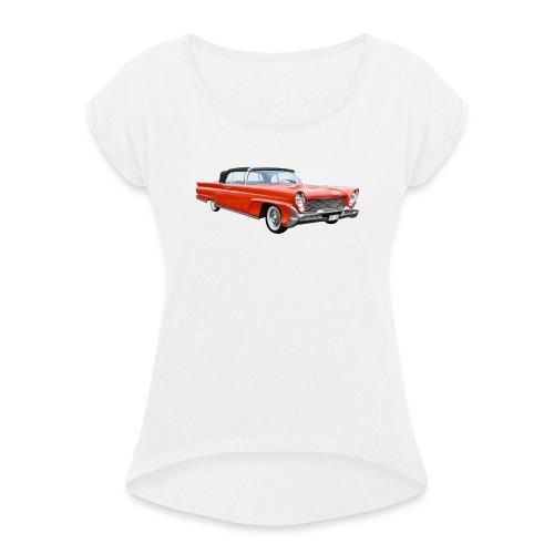 Red Classic Car - Vrouwen T-shirt met opgerolde mouwen