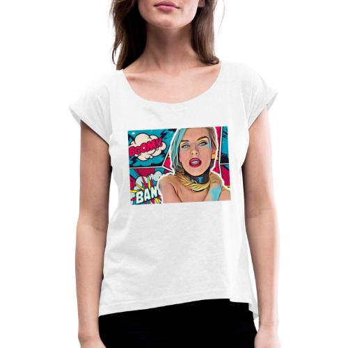 Hush me - Koszulka damska z lekko podwiniętymi rękawami