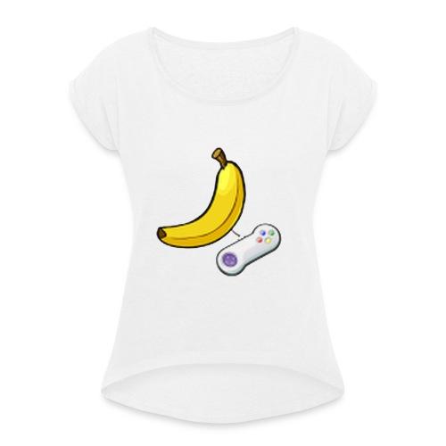 vrouwen hoedie - Vrouwen T-shirt met opgerolde mouwen