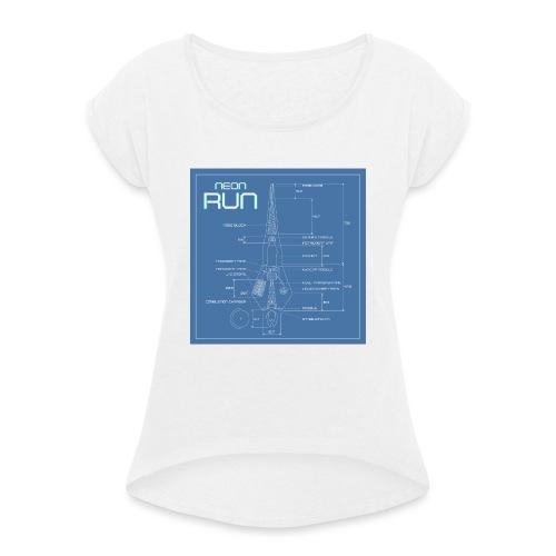 NeonRun blueprint - Vrouwen T-shirt met opgerolde mouwen
